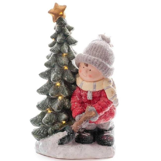 Xecco kisfiú fa mellett karácsonyi dekoráció 1966 LED SP-8090690